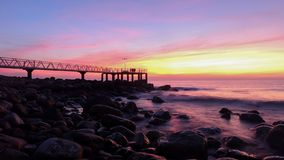 The coast at chilches beach at sunrise. Spain royalty free stock photo