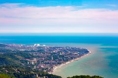 Adler district from the Akhun mountain, Sochi, Russia. royalty free stock photo