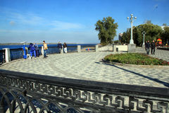 Coast in the city of Samara, Russian Federation. On the coast of Volga River in Russia, Samara city stock photos