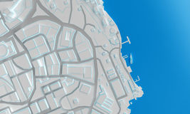 Coast city top view. 3d rendering. Coast low poly city top view. 3d rendering Stock Image