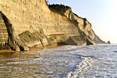 Coast cliff in |Greece. Cliff at northwest coast of Corfu, Greece Stock Photos
