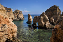 Coast with cliffs in Lagos at Algarve in Portugal. Coast with rocky cliffs and turquoise sea in Lagos at Algarve in Portugaln royalty free stock photos