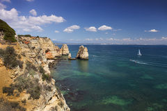 Coast with cliffs in Lagos at Algarve in Portugal Stock Photography