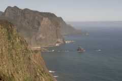 Coast of Madeira island. Coast with cliffs, mountains and trails on the island of Madeira, Portugal stock photos