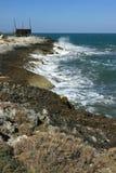 Coast close to Vieste, Gargano. Antico trabucco on the coast close to Vieste, Gargano Royalty Free Stock Photo