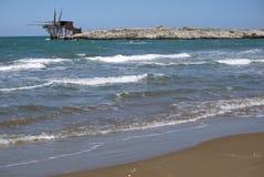 Coast close to Vieste, Gargano. Antico trabucco on the coast close to Vieste, Gargano Stock Photo