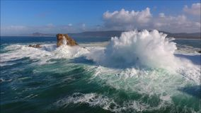 Aerial. Crashing Waves shooted with drone