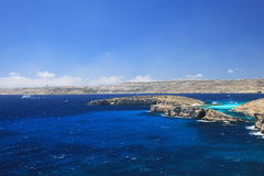 The coast of Comino stock images