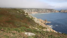 Coast of Cornwall England in autumn with mist stock footage