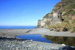 Coast on Corsica Island, France. Scenic coast, historic guard tower on Corsica Island, France Stock Image