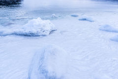 Coast covered with ice in the Sea of Okhotsk Stock Photography