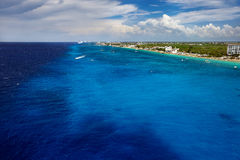 The coast of Cozumel in Mexico. From the sea Stock Images