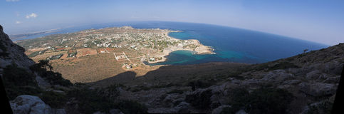 Coast of crete. View from mountains to Stavros Royalty Free Stock Images