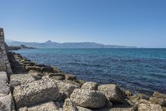Coast of Crete island. In the port in Iraklion , Greece , Europe Royalty Free Stock Photos