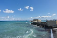 Coast of Crete island. In the port in Iraklion , Greece , Europe Stock Photos