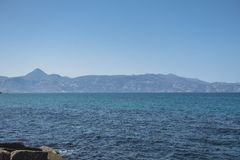 Coast of Crete island. In the port in Iraklion , Greece , Europe . And the mountains in background Stock Image