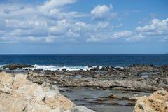 Coast of Crete island. Typical rocky coastline on Crete  , Greece , Europe Stock Photos