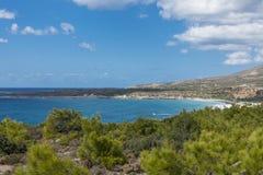 Coast of Crete island. Typical rocky with small trees coastline on Crete  , Greece , Europe Royalty Free Stock Image