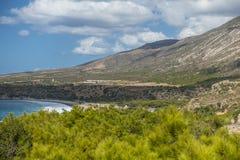 Coast of Crete island. Typical rocky with small trees coastline on Crete  , Greece , Europe Stock Image