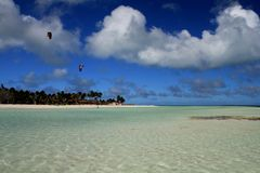 Cuban beach. Turquoise waters, white sand and water sports royalty free stock photo