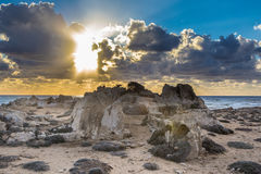 The coast of Cyprus near the ancient city of Curio, Limassoluins. The coast of Cyprus near the ancient city of Curio, Limassol - ancient excavations of Roman Royalty Free Stock Image