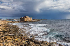 The coast of Cyprus near the ancient city of Curio, Limassol. Ancient excavations of Roman ruins Royalty Free Stock Photos