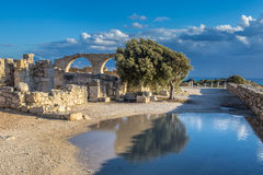 The coast of Cyprus near the ancient city of Curio, Limassol. Ancient excavations of Roman ruins Royalty Free Stock Photography