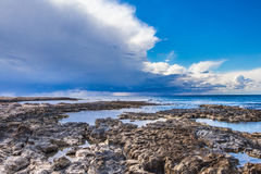 The coast of Cyprus near the ancient city of Curio, Limassoluins. The coast of Cyprus near the ancient city of Curio, Limassol - ancient excavations of Roman Royalty Free Stock Photography