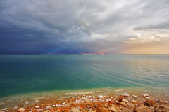 Coast of the Dead Sea in Israel Stock Photo