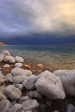 Coast of the Dead Sea in Israel in thunder-storm. Royalty Free Stock Photography
