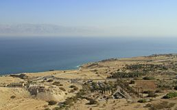 Coast of the Dead Sea from the mountain top. View of the coast of the Dead Sea from the mountain top, Ein Gedi, Israel Royalty Free Stock Photography