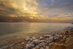 Coast of the Dead Sea in spring thunder-storm. Royalty Free Stock Photography