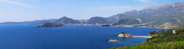 coast den montenegro panoramat Arkivbilder