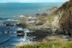 Coast of Devon. Coastline seen from hiking trail, Devon, England stock image