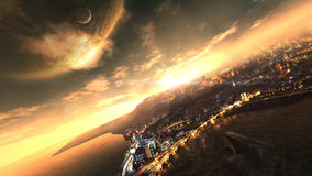 Coast Doom. Surreal landscape in planetary sunrise scenario Stock Images