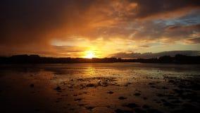 Coast of Dublin. Sun setting on the coast of Dublin, Ireland Stock Photography