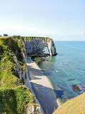 Coast of english channel beach in Etretat. Cote d'albatre, France Royalty Free Stock Photo
