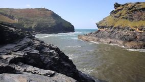 Coast entrance to Boscastle harbour Cornwall England UK
