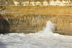 Coast erosion on Great Ocean Road Royalty Free Stock Photos