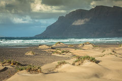 Coast of Famara beach, Lanzarote Island, Canary Islands, Spain Royalty Free Stock Images