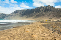 Coast of Famara beach, Lanzarote Island, Canary Islands, Spain Royalty Free Stock Photos