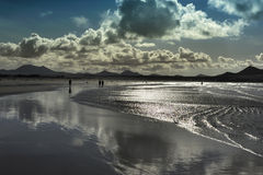Evening at Famara beach, Lanzarote, Canary Islands, Spain Stock Images