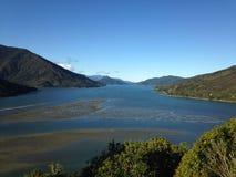 Coast with fjords, New Zealand Stock Photo