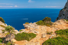 Coast of the Formentor, Mallorca. Rocky coast photographed from view point next to the road leading to the Cape Formentor lighthouse located it the north coast Royalty Free Stock Images