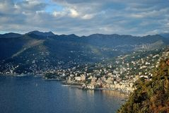The coast of Genoa. In a sunny day in the winter Stock Photo