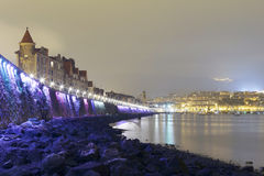 Coast of Getxo, Basque Country, Spain. At night with a cloudy sky Royalty Free Stock Photography