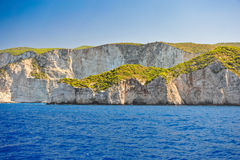 Coast of Greece, Navagio beach, Zakynthos island, Greece. View of the coast from the sea. Stock Photos