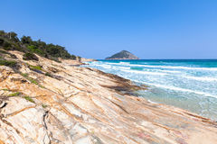 Coast of Greek Island Thasos Royalty Free Stock Image