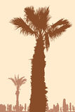 Coast of the Greek resort. Vector image of the palm trees on the coast of a Greek resort Royalty Free Stock Photos