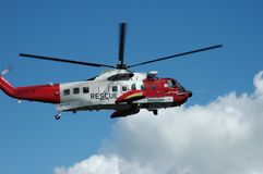Coast Guard. Red and White Rescue Helicopter Royalty Free Stock Image